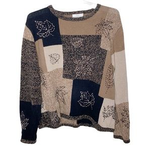 Vintage Christopher Banks hand embroidered fall themed colorblock sweater size L